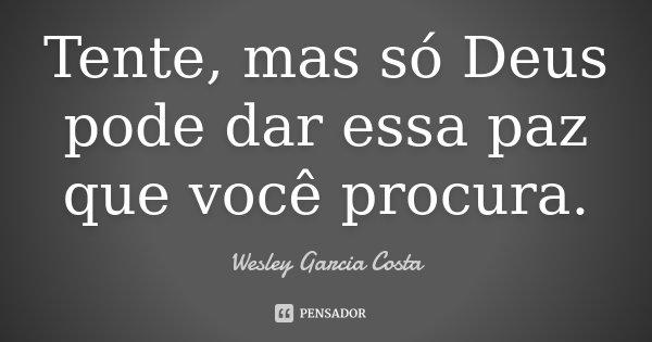 Tente, mas só Deus pode dar essa paz que você procura.... Frase de Wesley Garcia Costa.