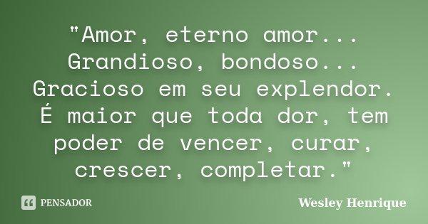 """""""Amor, eterno amor... Grandioso, bondoso... Gracioso em seu explendor. É maior que toda dor, tem poder de vencer, curar, crescer, completar.""""... Frase de Wesley Henrique."""
