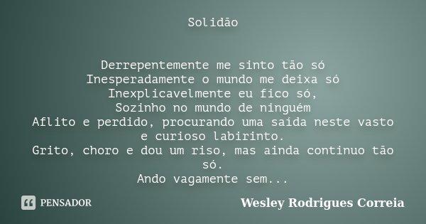 Solidão Derrepentemente me sinto tão só Inesperadamente o mundo me deixa só Inexplicavelmente eu fico só, Sozinho no mundo de ninguém Aflito e perdido, procuran... Frase de Wesley Rodrigues Correia.