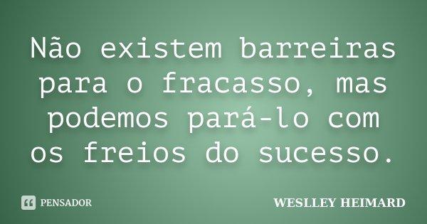 Não existem barreiras para o fracasso, mas podemos pará-lo com os freios do sucesso.... Frase de Weslley heimard.