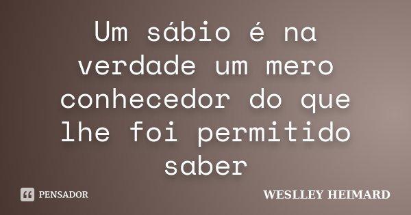 Um sábio é na verdade um mero conhecedor do que lhe foi permitido saber... Frase de Weslley Heimard.
