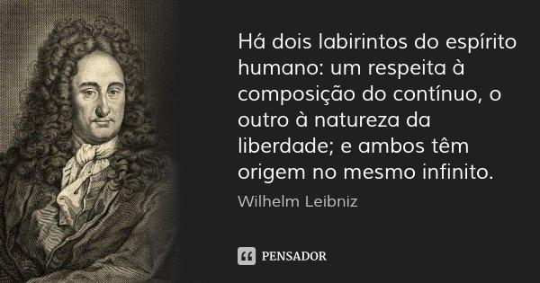 Há dois labirintos do espírito humano: um respeita à composição do contínuo, o outro à natureza da liberdade; e ambos têm origem no mesmo infinito.... Frase de Wilhelm Leibniz.