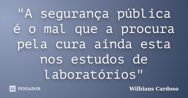 """""""A segurança pública é o mal que a procura pela cura ainda esta nos estudos de laboratórios""""... Frase de Wilhians Cardoso."""