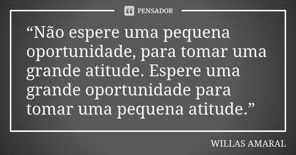 """""""Não espere uma pequena oportunidade, para tomar uma grande atitude. Espere uma grande oportunidade para tomar uma pequena atitude.""""... Frase de WILLAS AMARAL."""