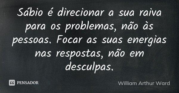 Sábio é direcionar a sua raiva para os problemas, não às pessoas. Focar as suas energias nas respostas, não em desculpas.... Frase de William Arthur Ward.