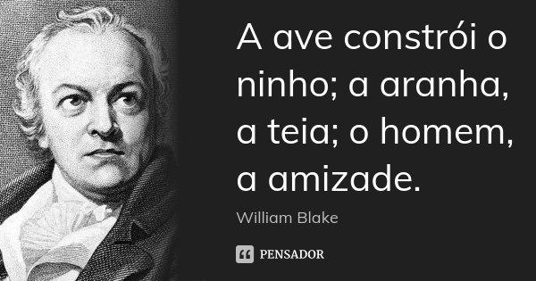 A ave constrói o ninho; a aranha, a teia; o homem, a amizade.... Frase de William Blake.