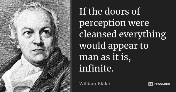If the doors of perception were cleansed everything would appear to man as it is, infinite.... Frase de William Blake.