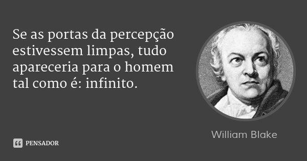Se as portas da percepção estivessem limpas, tudo apareceria para o homem tal como é: infinito.... Frase de William Blake.
