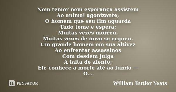 Nem temor nem esperança assistem Ao animal agonizante; O homem que seu fim aguarda Tudo teme e espera; Muitas vezes morreu, Muitas vezes de novo se ergueu. Um g... Frase de William Butler Yeats.