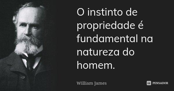 O instinto de propriedade é fundamental na natureza do homem.... Frase de William James.