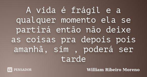 A vida é frágil e a qualquer momento ela se partirá então não deixe as coisas pra depois pois amanhã, sim , poderá ser tarde... Frase de William Ribeiro Moreno.