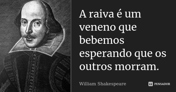 A raiva é um veneno que bebemos esperando que os outros morram.... Frase de William Shakespeare.