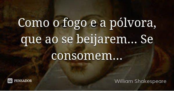 Como o fogo e a pólvora, que ao se beijarem... Se consomem...... Frase de William Shakespeare.
