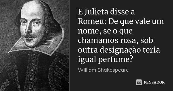 E Julieta disse a Romeu: De que vale um nome, se o que chamamos rosa, sob outra designação teria igual perfume?... Frase de William Shakespeare.
