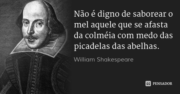 Não é digno de saborear o mel aquele que se afasta da colméia com medo das picadelas das abelhas.... Frase de William Shakespeare.