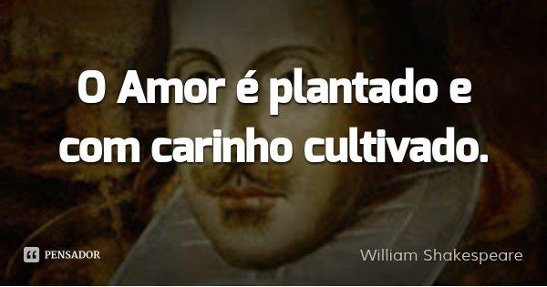 O Amor é plantado e com carinho cultivado.... Frase de William Shakespeare.