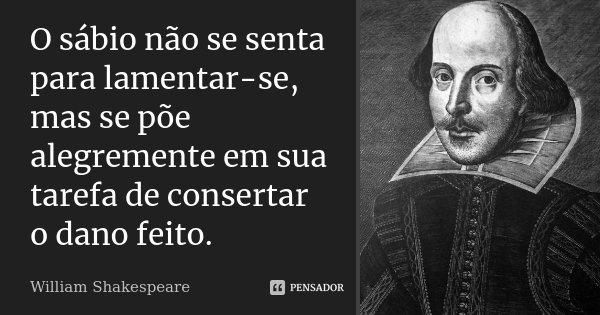 O sábio não se senta para lamentar-se, mas se põe alegremente em sua tarefa de consertar o dano feito.... Frase de William Shakespeare.