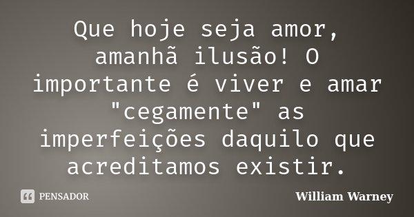 """Que hoje seja amor, amanhã ilusão! O importante é viver e amar """"cegamente"""" as imperfeições daquilo que acreditamos existir.... Frase de William Warney."""