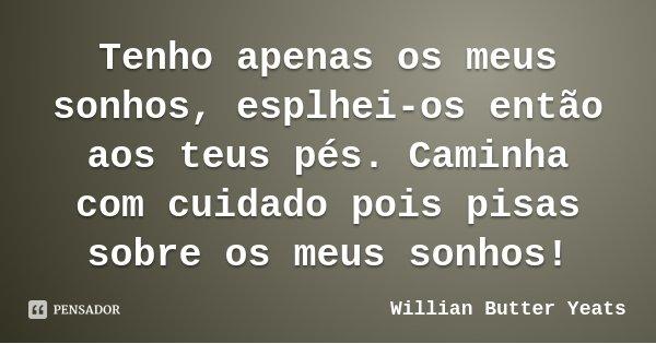 Tenho apenas os meus sonhos, esplhei-os então aos teus pés. Caminha com cuidado pois pisas sobre os meus sonhos!... Frase de Willian Butter Yeats.