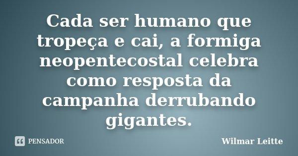 Cada ser humano que tropeça e cai, a formiga neopentecostal celebra como resposta da campanha derrubando gigantes.... Frase de Wilmar Leitte.
