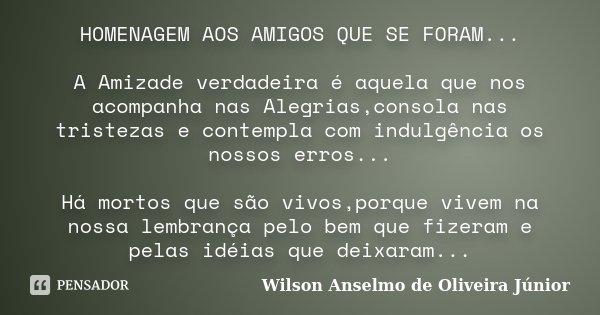 Homenagem Aos Amigos Que Se Foram A Wilson Anselmo De Oliveira