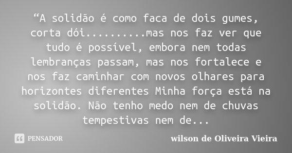 """""""A solidão é como faca de dois gumes, corta dói..........mas nos faz ver que tudo é possível, embora nem todas lembranças passam, mas nos fortalece e nos faz ca... Frase de wilson de Oliveira Vieira."""