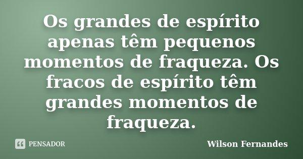 Os grandes de espírito apenas têm pequenos momentos de fraqueza. Os fracos de espírito têm grandes momentos de fraqueza... Frase de Wilson Fernandes.