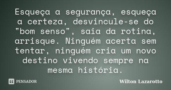 """Esqueça a segurança, esqueça a certeza, desvincule-se do """"bom senso"""", saia da rotina, arrisque. Ninguém acerta sem tentar, ninguém cria um novo destin... Frase de Wilton Lazarotto."""
