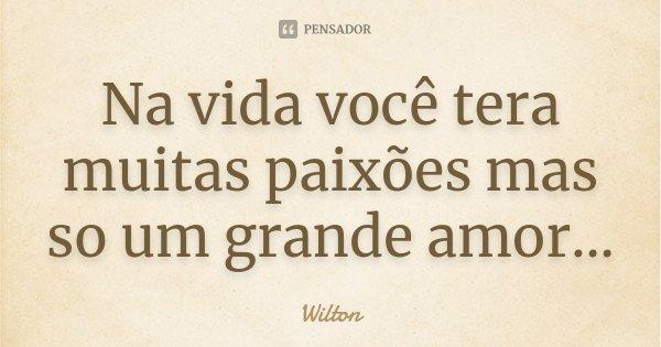 Na vida você tera muitas paixões mas so um grande amor...... Frase de Wilton.