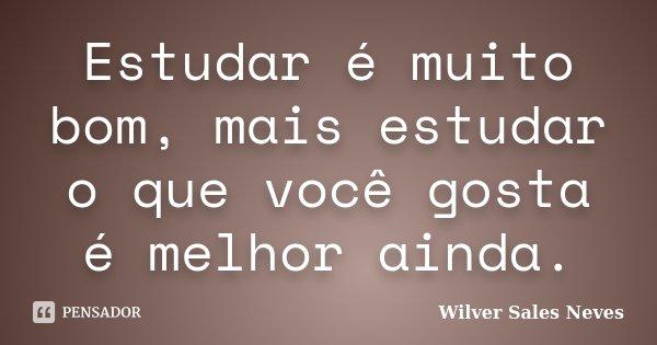 Estudar é muito bom, mais estudar o que você gosta é melhor ainda.... Frase de Wilver Sales Neves.