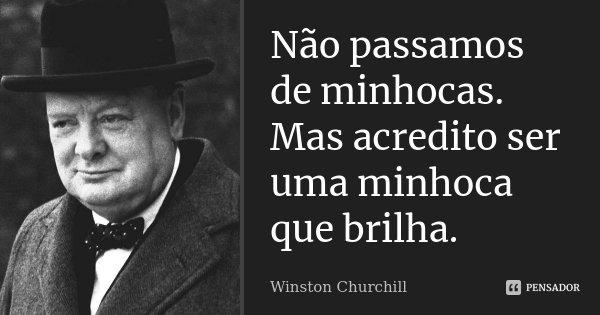Não passamos de minhocas. Mas acredito ser uma minhoca que brilha.... Frase de Winston Churchill.