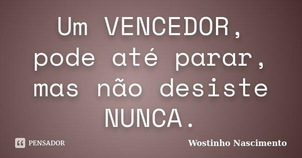 Um VENCEDOR, pode até parar, mas não desiste NUNCA.... Frase de Wostinho Nascimento.