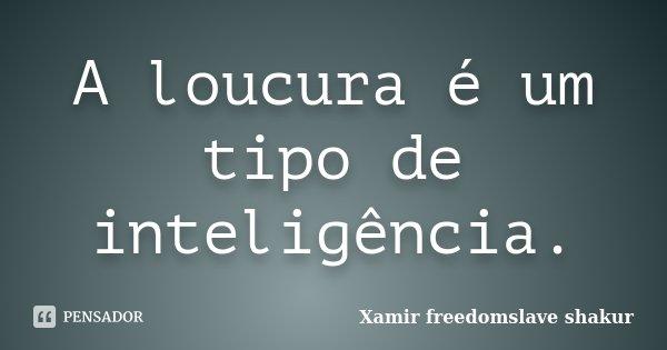 A loucura é um tipo de inteligência.... Frase de Xamir Freedomslave Shakur.