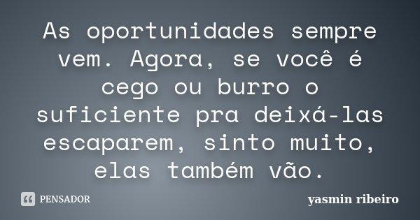 As oportunidades sempre vem. Agora, se você é cego ou burro o suficiente pra deixá-las escaparem, sinto muito, elas também vão.... Frase de Yasmin Ribeiro.