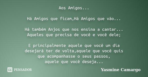 Aos Amigos... Há Amigos que ficam,Há Amigos que vão... Há também Anjos que nos ensina a cantar... Aqueles que precisa de você e você dele; E principalmente aque... Frase de Yasmine Camargo.