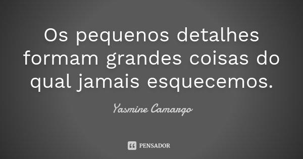 Os pequenos detalhes formam grandes coisas do qual jamais esquecemos.... Frase de Yasmine Camargo.