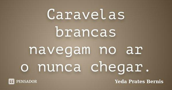 Caravelas brancas navegam no ar o nunca chegar.... Frase de Yeda Prates Bernis.