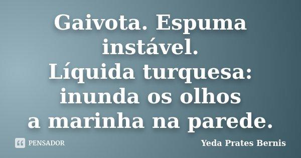 Gaivota. Espuma instável. Líquida turquesa: inunda os olhos a marinha na parede.... Frase de Yeda Prates Bernis.