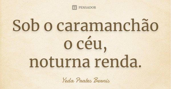 Sob o caramanchão o céu, noturna renda.... Frase de Yeda Prates Bernis.