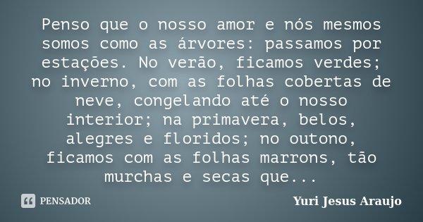Penso que o nosso amor e nós mesmos somos como as árvores: passamos por estações. No verão, ficamos verdes; no inverno, com as folhas cobertas de neve, congelan... Frase de Yuri Jesus Araujo.