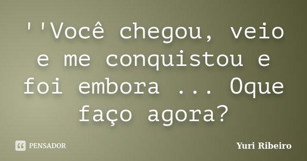 ''Você chegou, veio e me conquistou e foi embora ... Oque faço agora?... Frase de Yuri Ribeiro.