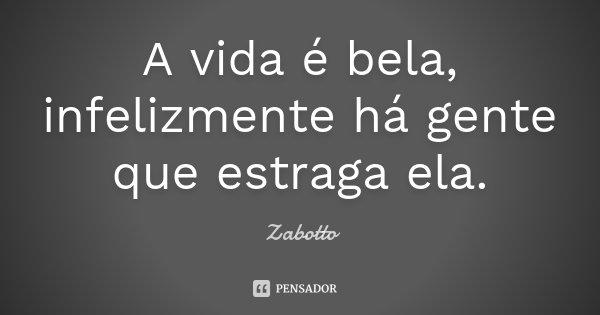 A vida é bela, infelizmente há gente que estraga ela.... Frase de Zabotto.