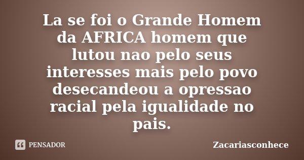 La se foi o Grande Homem da AFRICA homem que lutou nao pelo seus interesses mais pelo povo desecandeou a opressao racial pela igualidade no pais.... Frase de Zacariasconhece.