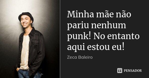 Minha mãe não pariu nenhum punk! No entanto aqui estou eu!... Frase de Zeca Baleiro.