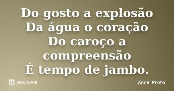 Do gosto a explosão Da água o coração Do caroço a compreensão É tempo de jambo.... Frase de Zeca Preto.