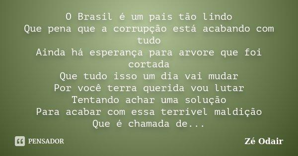 O Brasil é um pais tão lindo Que pena que a corrupção está acabando com tudo Ainda há esperança para arvore que foi cortada Que tudo isso um dia vai mudar Por v... Frase de Zé Odair.