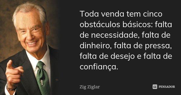 Toda venda tem cinco obstáculos básicos: falta de necessidade, falta de dinheiro, falta de pressa, falta de desejo e falta de confiança.... Frase de Zig Ziglar.