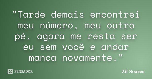 """""""Tarde demais encontrei meu número, meu outro pé, agora me resta ser eu sem você e andar manca novamente.""""... Frase de Zil Soares."""