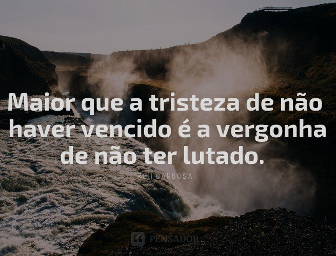 Maior que a tristeza de não haver vencido é a vergonha de não ter lutado.  Rui Barbosa