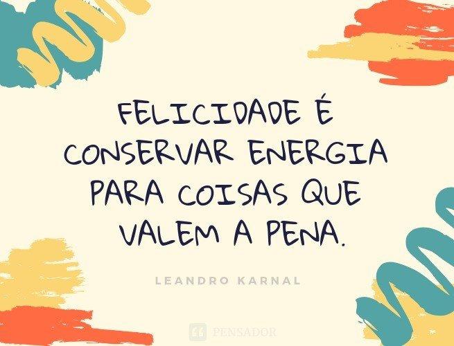 Felicidade é conservar energia para coisas que valem a pena.  Leandro Karnal
